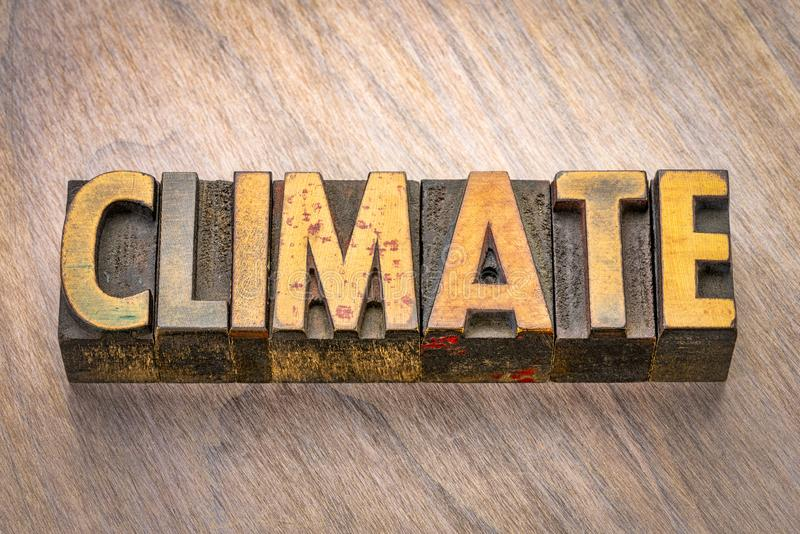 Climate word in wood type. Climate concept - word in vintage wooden letterpress printing blocks royalty free stock photo