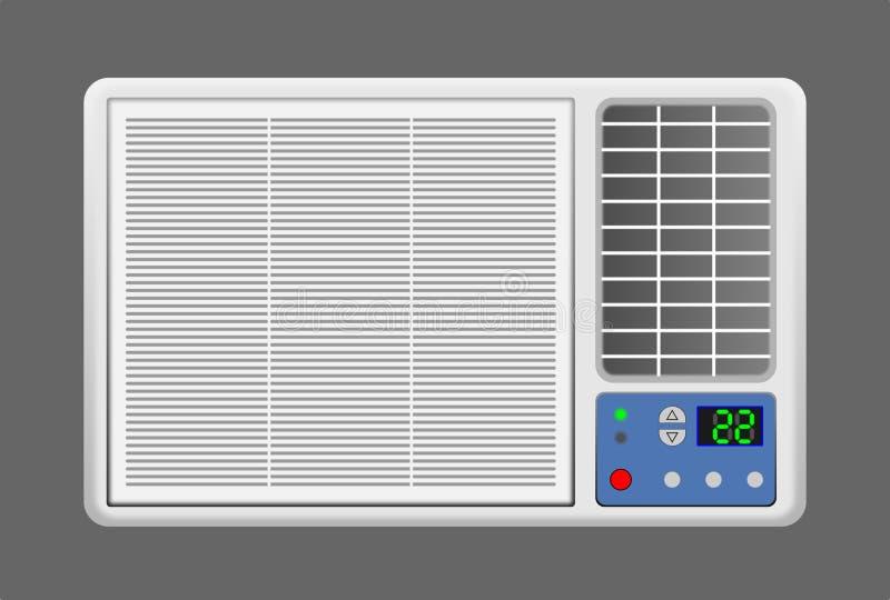 Climatiseur de fenêtre sur le fond gris image stock