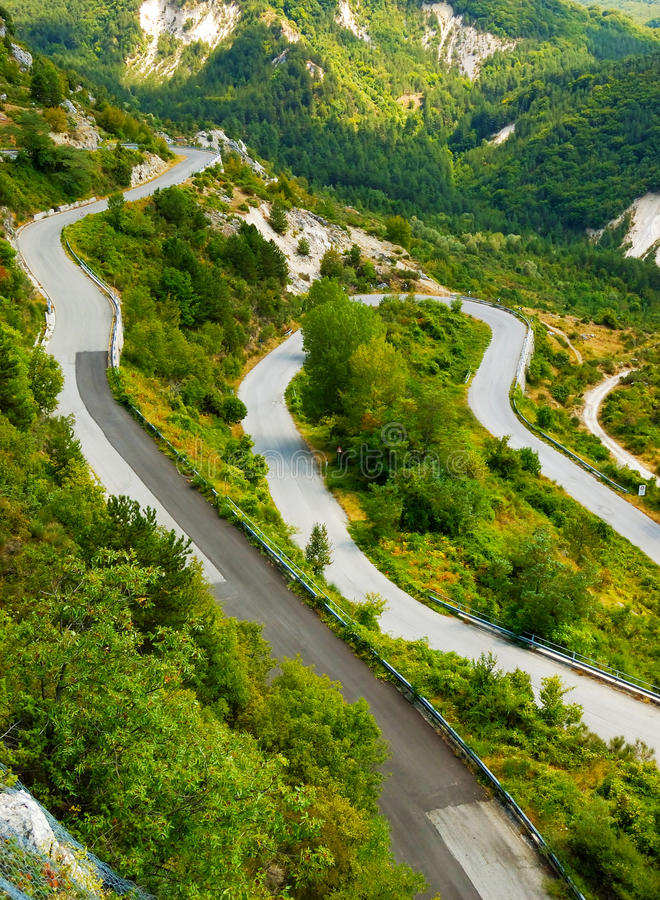 Climb to the mountain. A road on the italian Appenini mountains stock photo