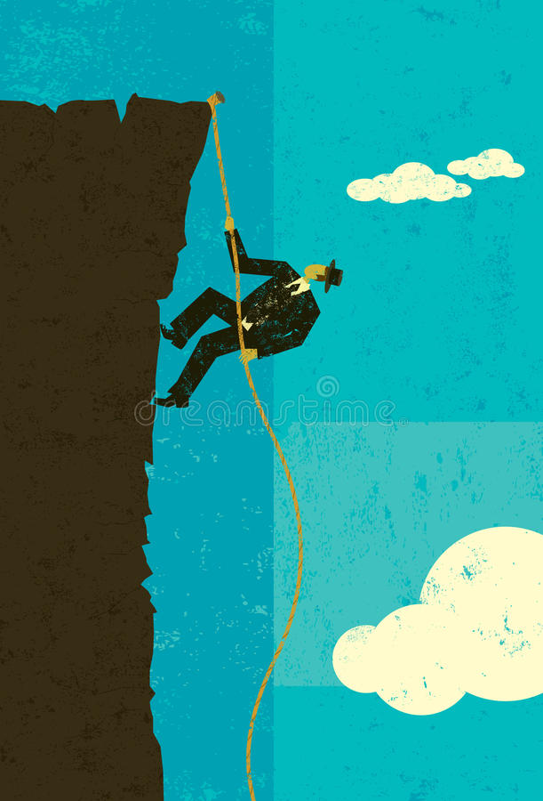Climber. A businessman climbing a rope up the side of a cliff about to reach the top. The man, rope, and cliff are on separate layer from the background royalty free illustration