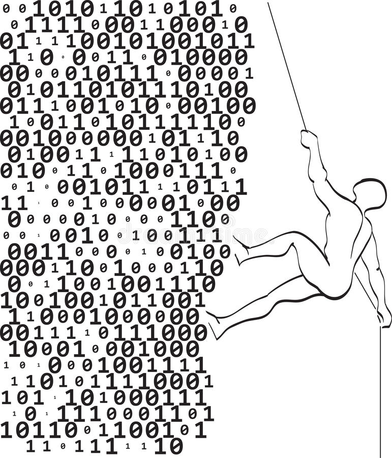 Climber climbs a mountain of digits royalty free illustration