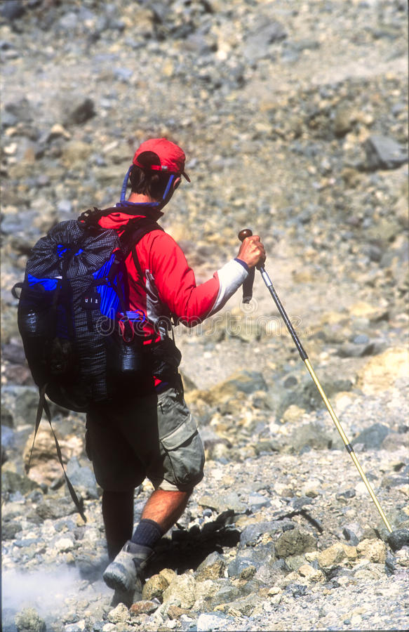 Climber On Descent From The Summit Of Mt Kilimanjaro Editorial Photography