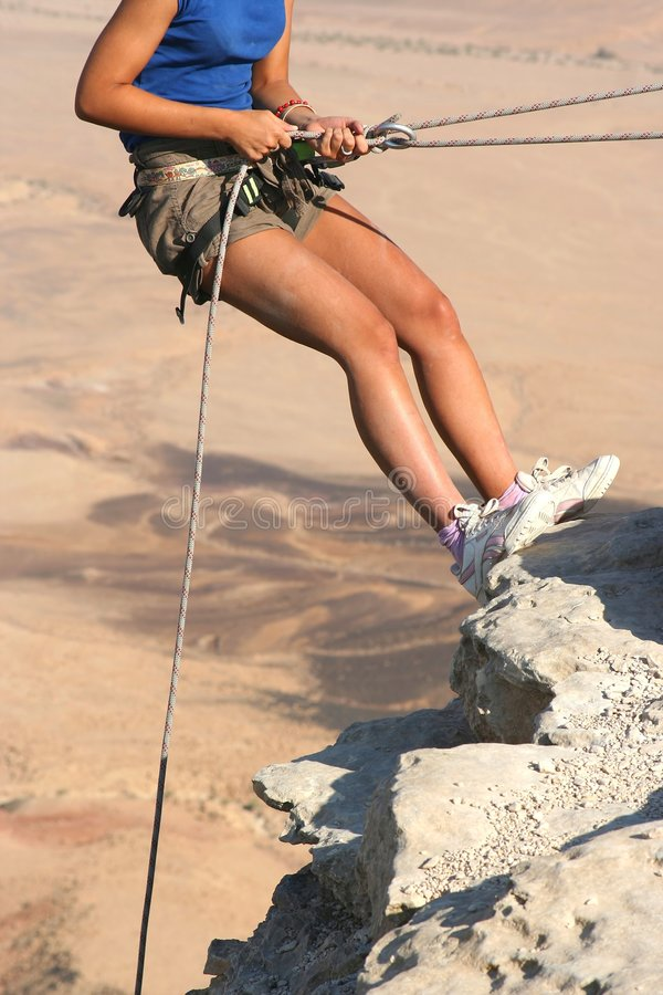 Climber in the Desert royalty free stock photography