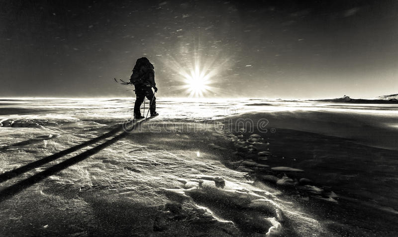 Climber fights with bad weather in the winter mountains stock photography