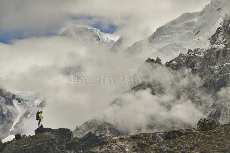 Climber on Khumbu Valley. Himalaya, Nepal. stock photography