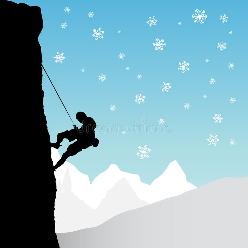Climber, mountaineer. Silhouette background vector royalty free illustration