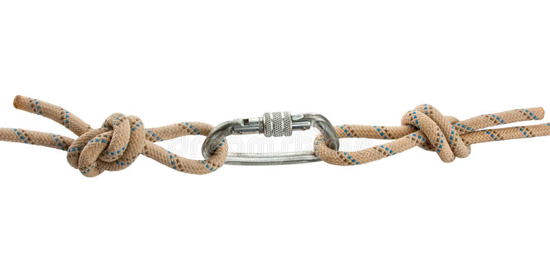 Climber's rope with carbine royalty free stock photo