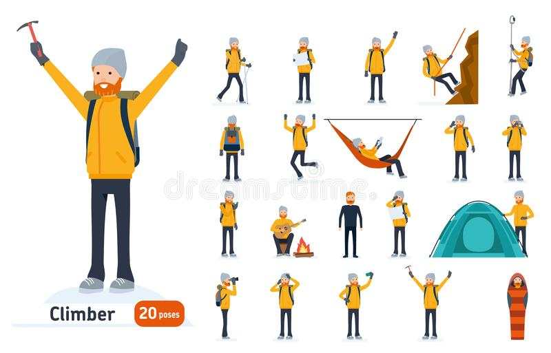Climber set. Ready to use character set. Climber with a pick on top of a mountain, tourist hiking, resting, walking. Trekking. Isolated white background royalty free illustration