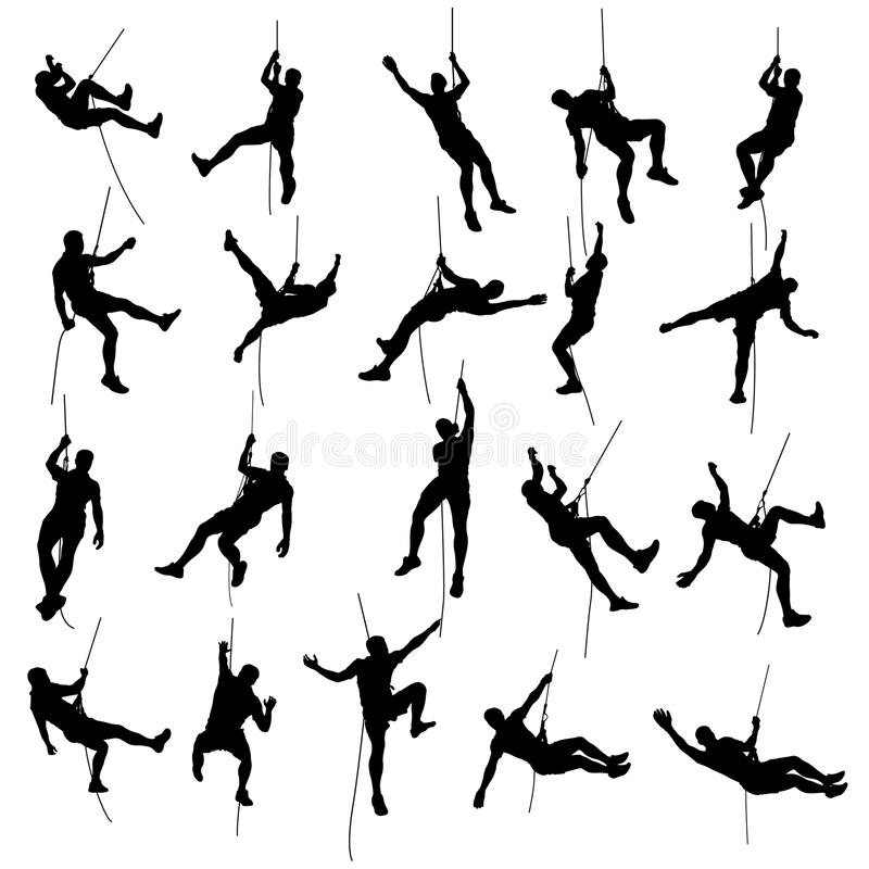 Free Climber Set Silhouette 2 Stock Photography - 76180672