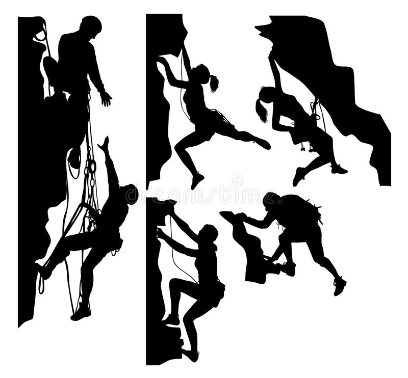 Climber Sport Activity Silhouettes royalty free illustration