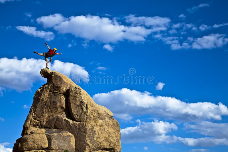 Download Climber on the summit. stock image. Image of freedom - 14921075