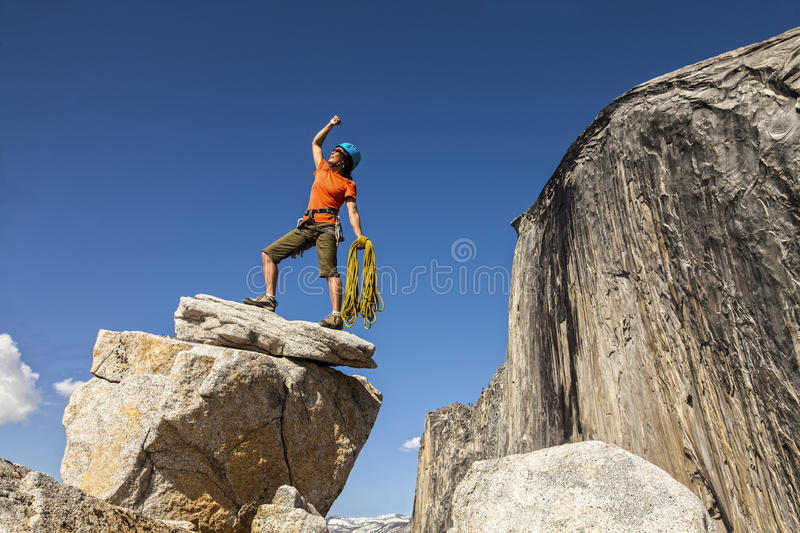 Download Climber on the summit. stock image. Image of heroic, achievement - 25138501