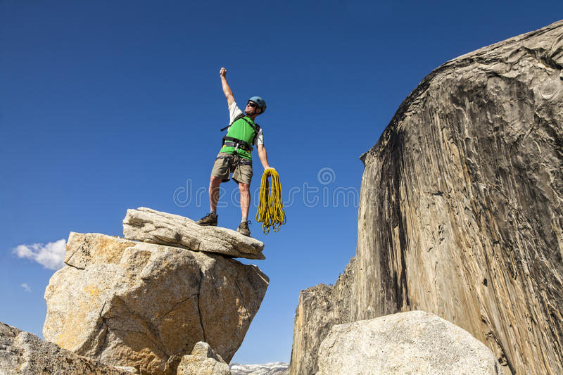 Download Climber on the summit. stock image. Image of conquer - 25138563