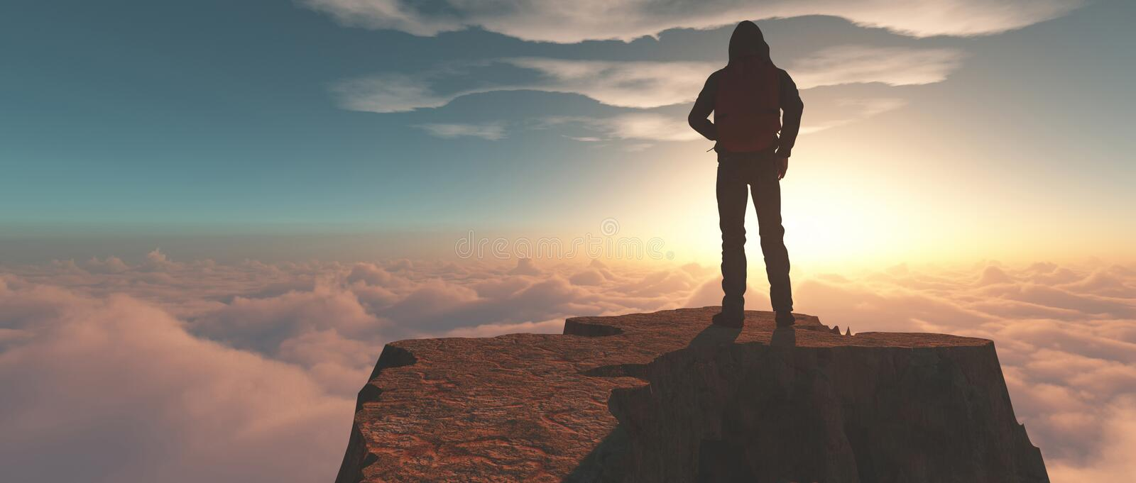 Climber on top of a mountain stock images