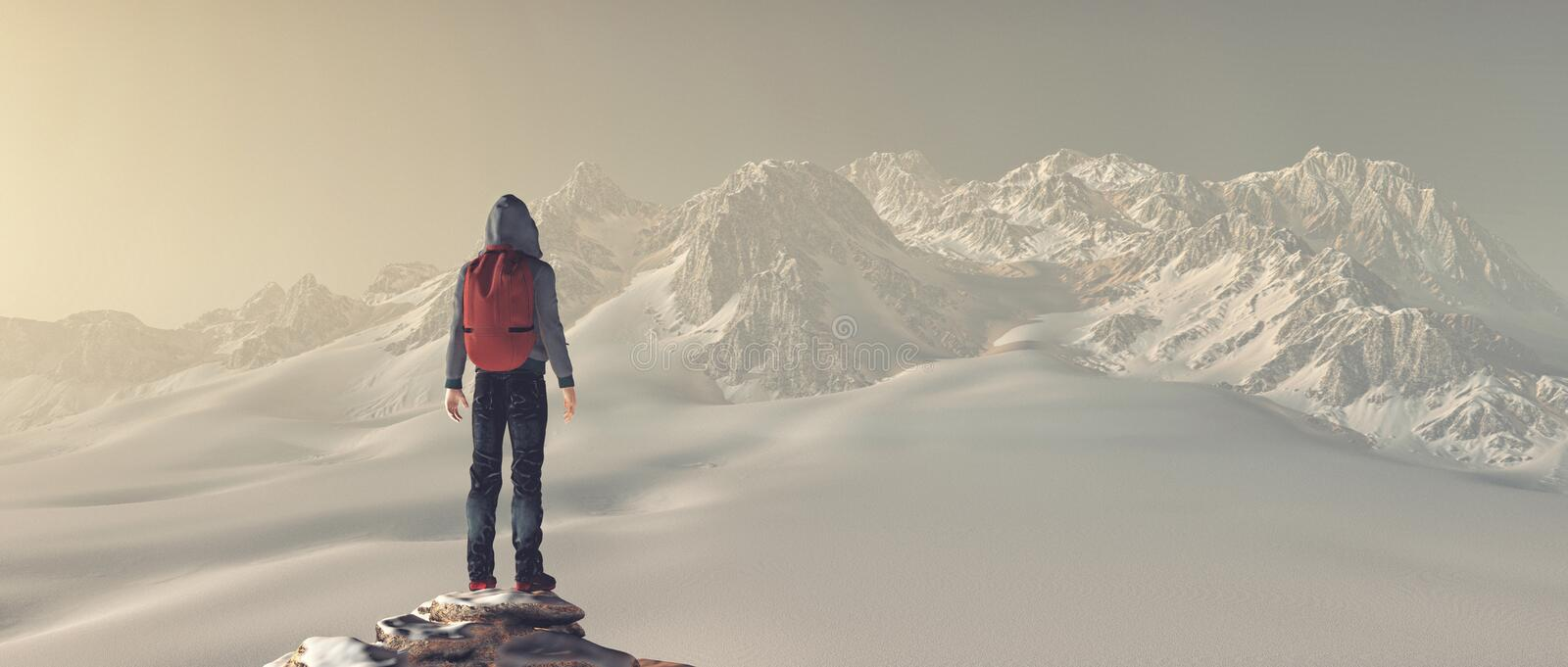 Climber on top of a mountain stock photo
