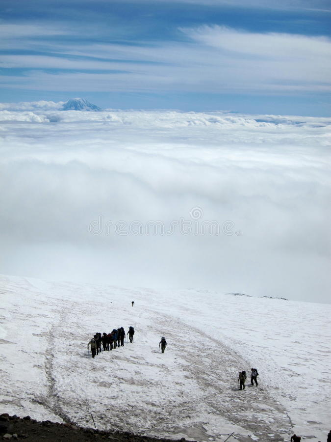 Climbers Approach Camp Muir, Mt. Rainier. Upper section of the Muir Snowfield. Climbers approaching Camp Muir. Above the clouds with Mt. Adams in the background royalty free stock photo
