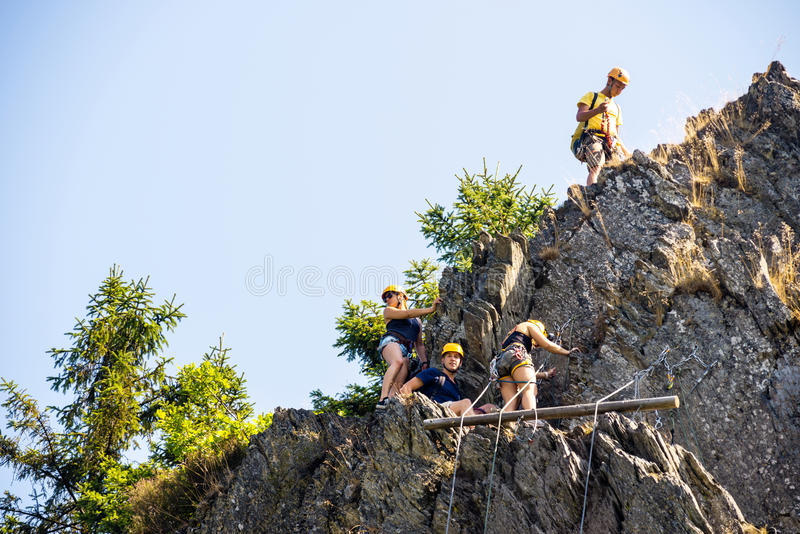 Download Climbers Climbing On Rock stock photo. Image of horizontal - 33671684