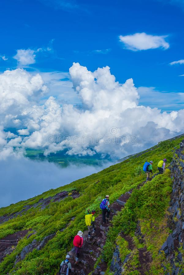 Climbers At Mountain. On summer Climbers At Mountain Fuji stock images
