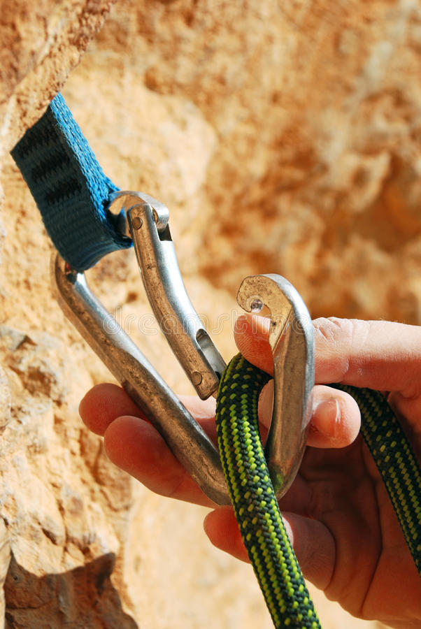 Download A Climbers Rope And Quick-draws Stock Photo - Image: 26328358