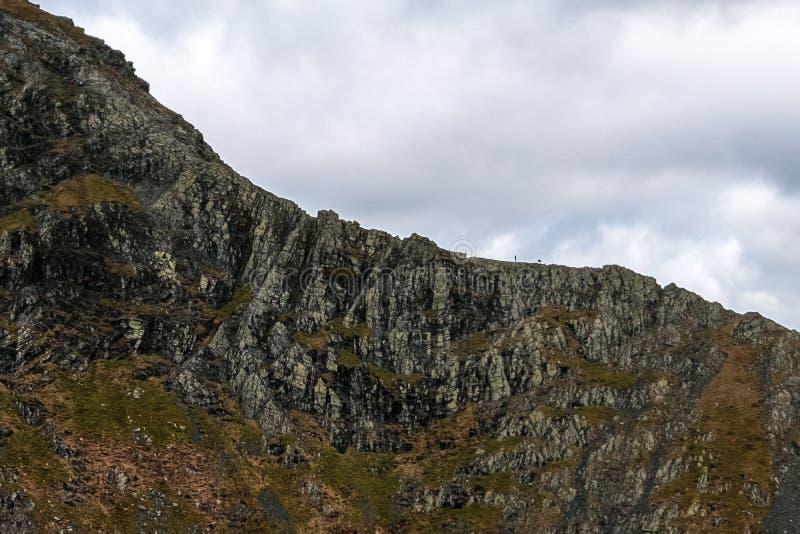 Climbers on Sharp Edge, Blencathra royalty free stock images