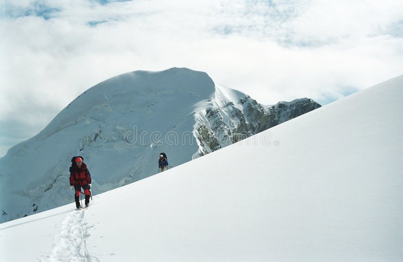 Climbers in Tan-Shan mountains stock image