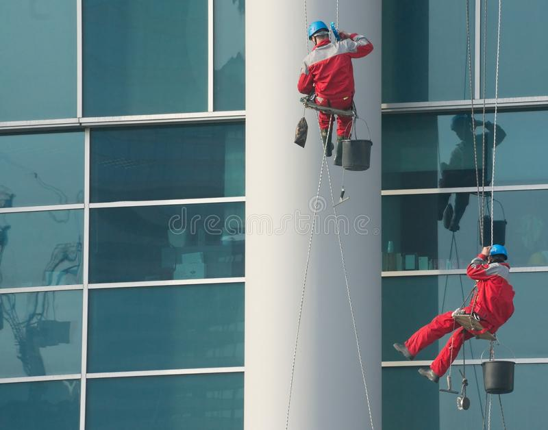 Climbers - window cleaners stock image
