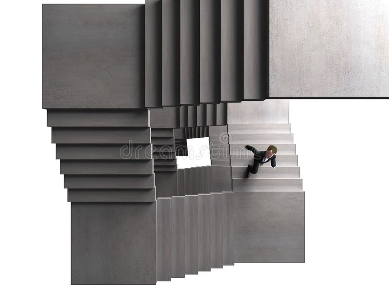 Climbing. An executive going all the way up stock illustration
