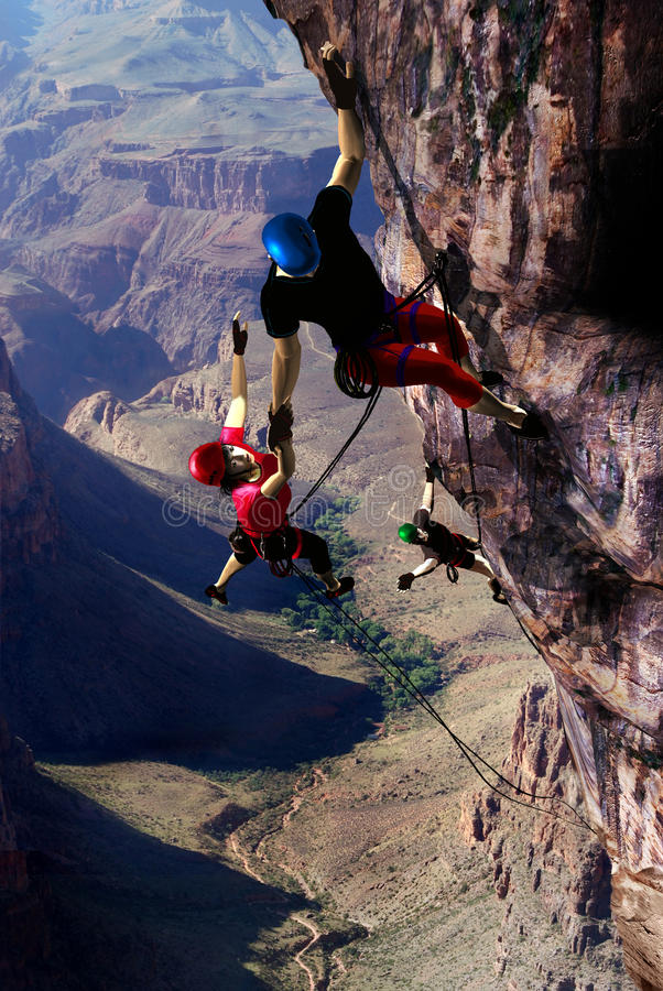 Climbing accident. Several people climbing a high rock. The woman was first and has failed. The first man takes her by her arm, trying to approach her to the royalty free illustration