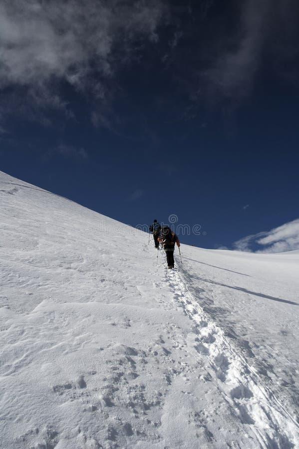 Climbing allalinhorn royalty free stock photo