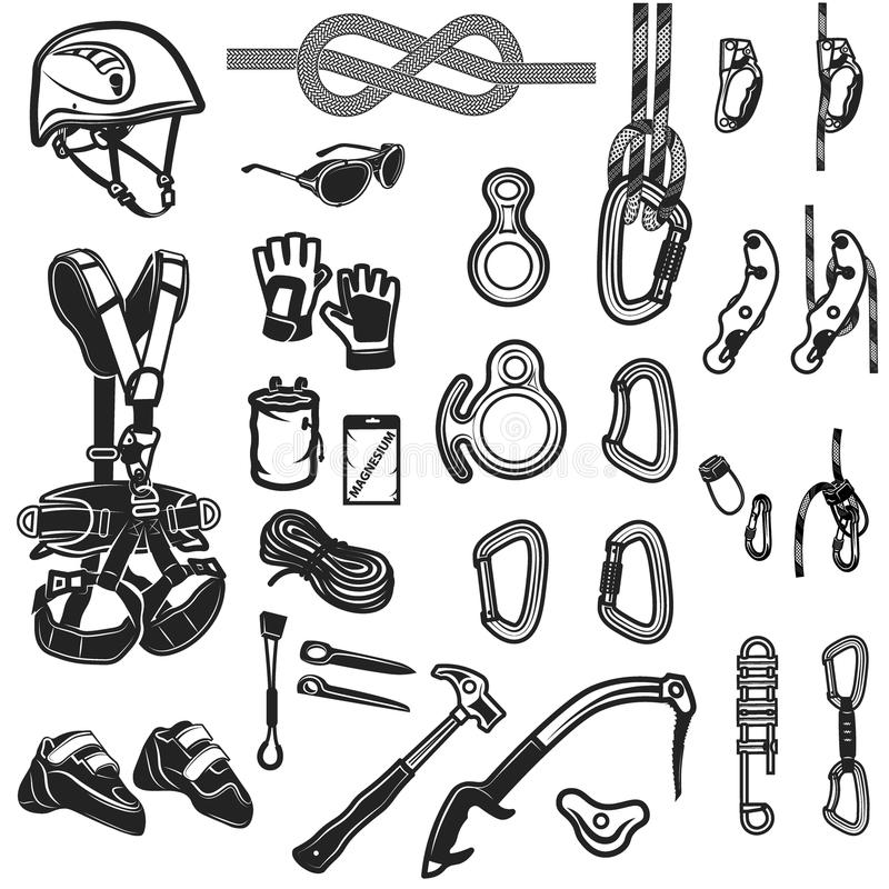 Free Climbing,camping And Exploration Vintage Icons Set Stock Photo - 70777260