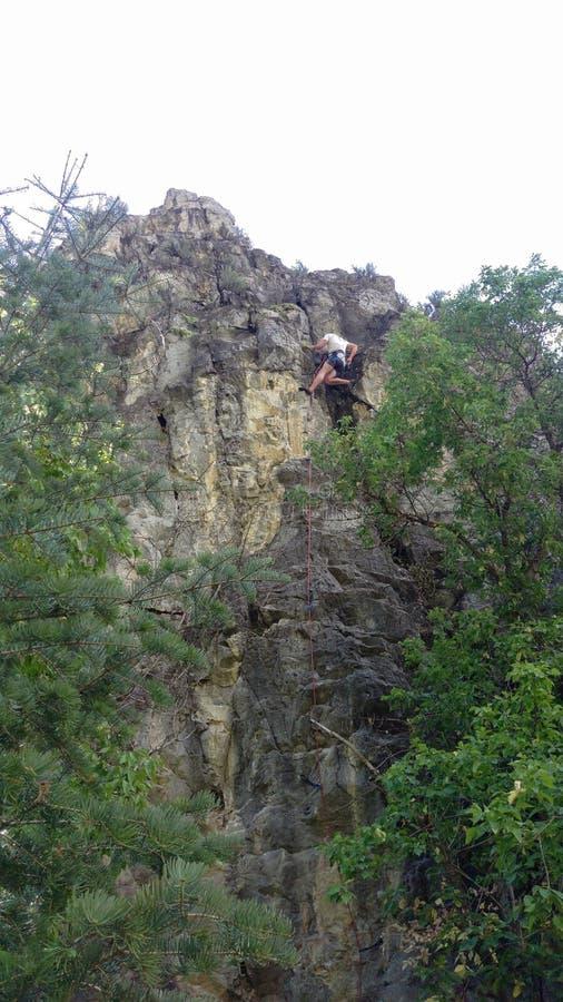 Climbing Cliffs in Rock Canyon stock photo