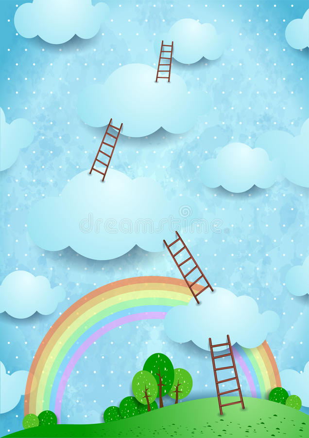 Climbing. Cloudscape with ladders, fantasy illustration stock illustration