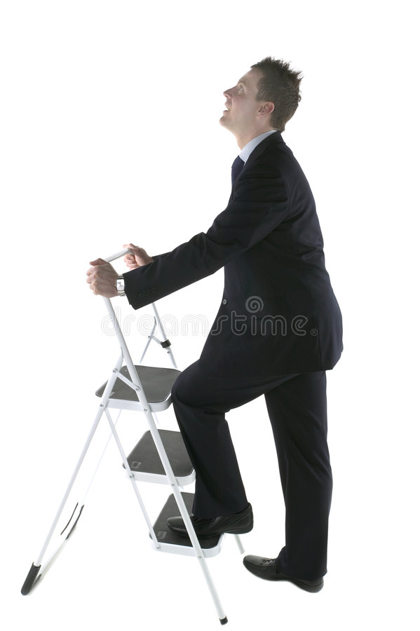 Climbing the corporate ladder stock image