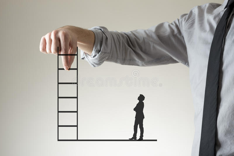 Climbing the corporate ladder to success. And promotion concept with a businessman holding up a ladder between his fingers as a small silhouette of a second stock images