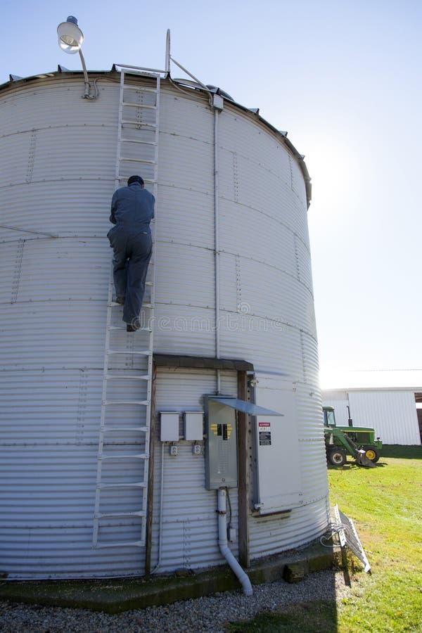Free Climbing Down A Grain Silo Stock Image - 36741781