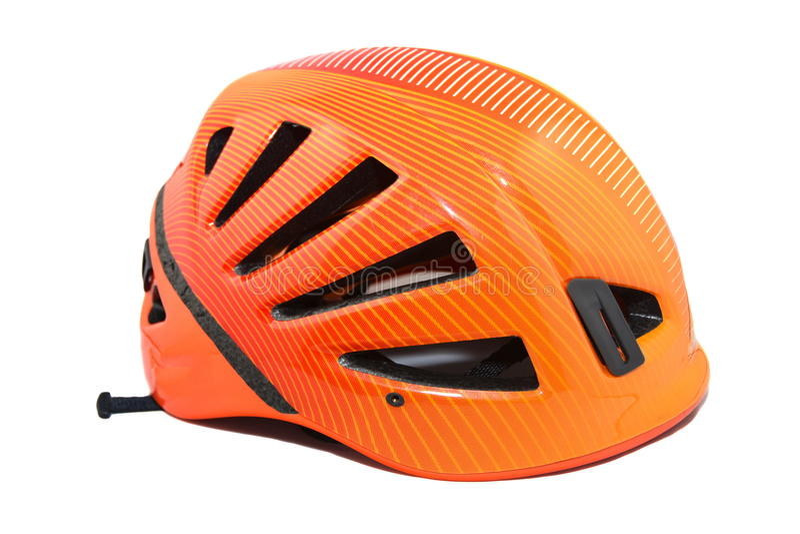 Rock climbing gear helmet stock image