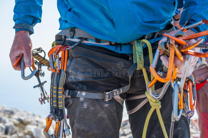 Climbing equipment on man royalty free stock images