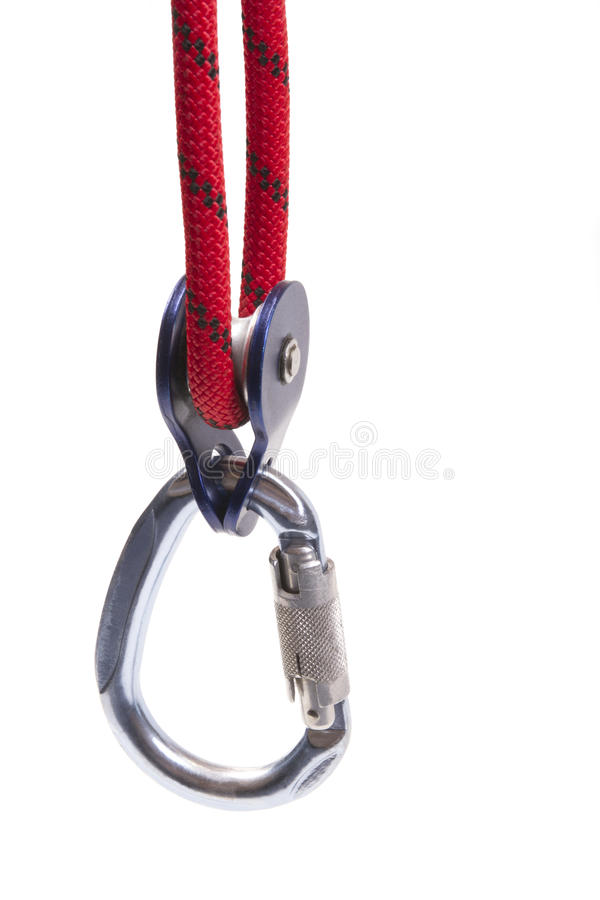 Climbing equipment - pulley, rope, carabiner stock photos