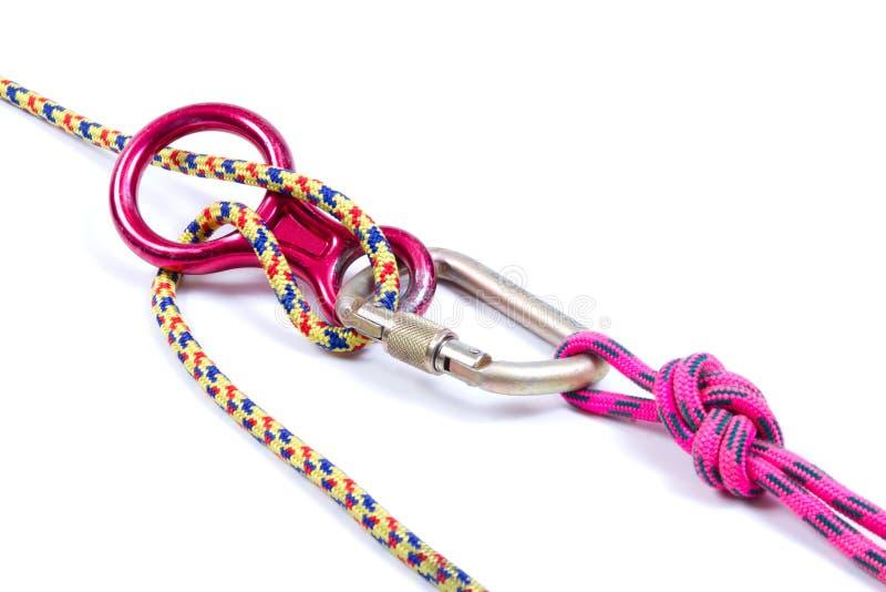 Climbing equipment - rope, carabiner, figure eight royalty free stock image