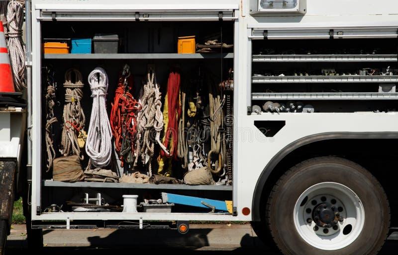 Climbing equipment in truck stock photography