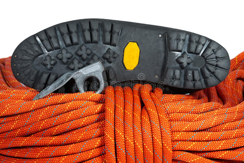 Climbing Equipment on White Background stock images