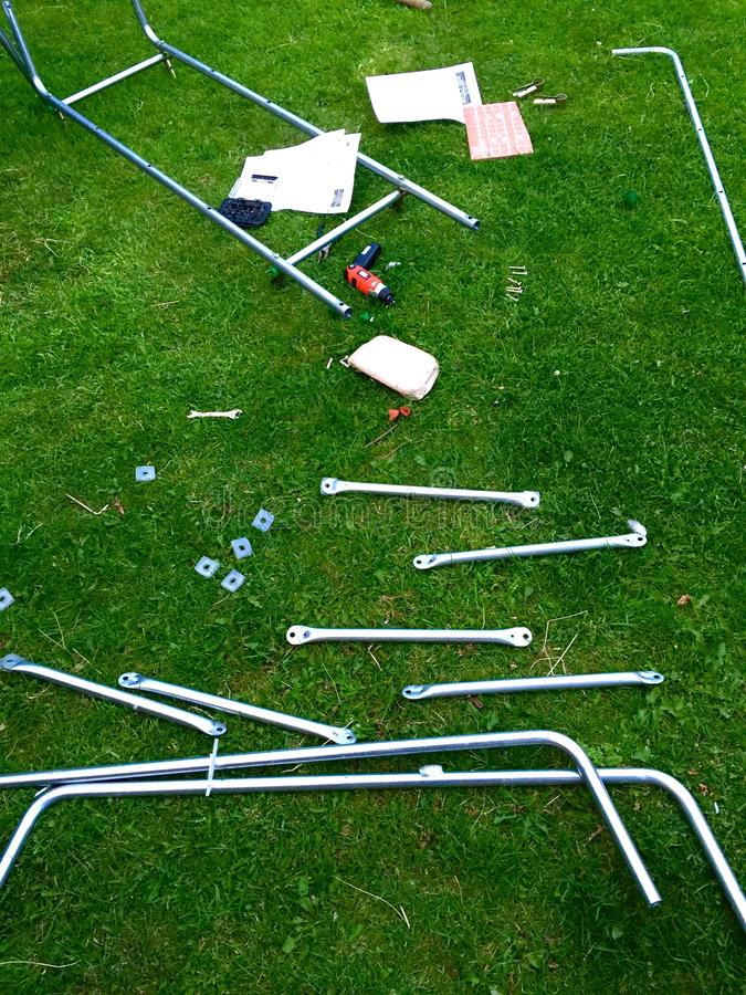 Climbing frame construction in back garden royalty free stock images