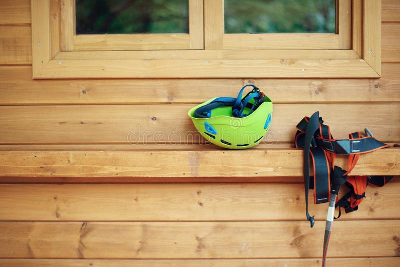 Climbing gear equipment - helmet harness zip line safety equipment. stock photography