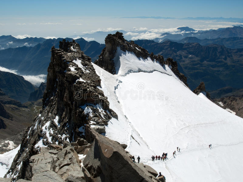 Climbing Gran Paradiso. View from the top of Gran Paradiso royalty free stock photo