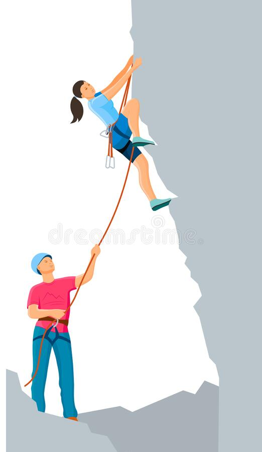 Free Climbing Group Man And Woman Couple Tourists Ascend The Mountain Stock Photo - 171211800