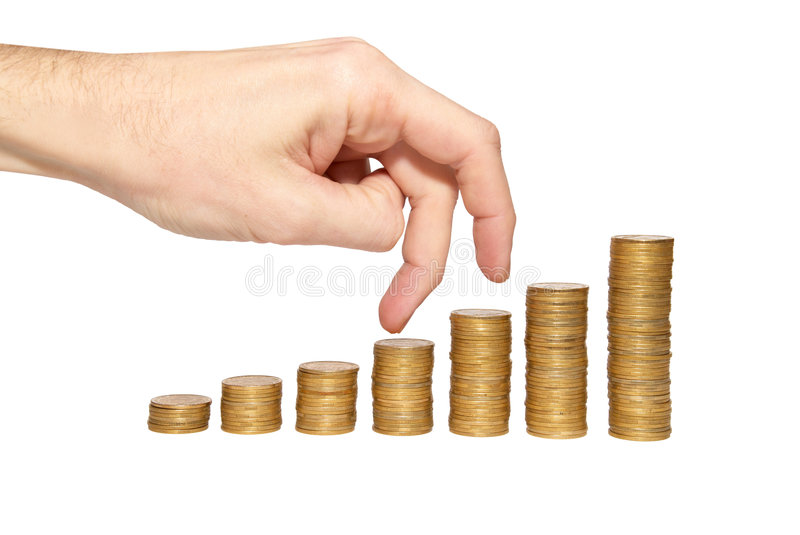 Download Climbing Hand On Gold Coin Staircase Stock Photo - Image: 9191226