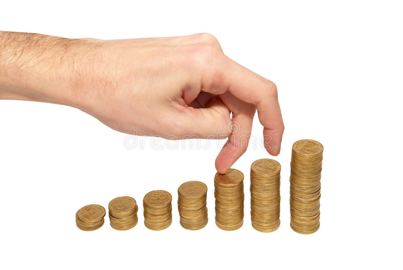 Download Climbing Hand On Gold Coin Staircase Stock Image - Image of finance, hand: 9191881