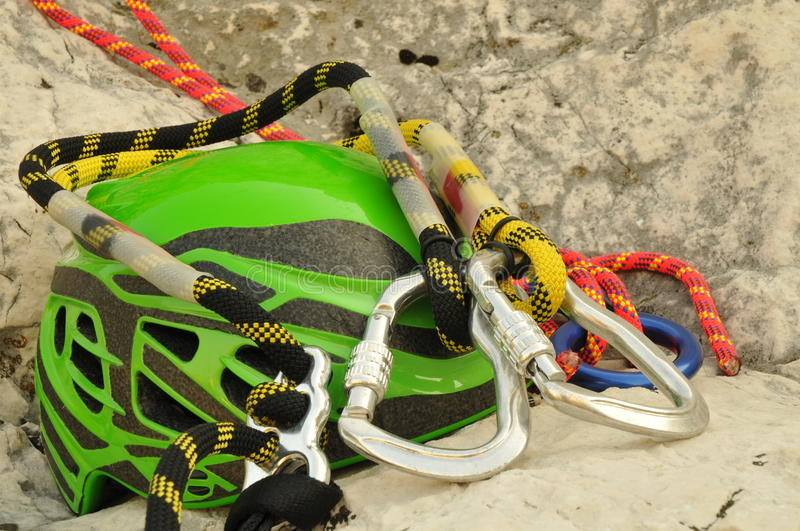 Climbing helmet and carabiner royalty free stock images