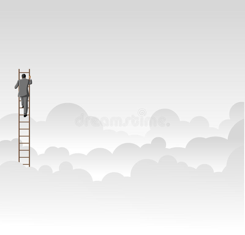 Climbing high ladder stock illustration