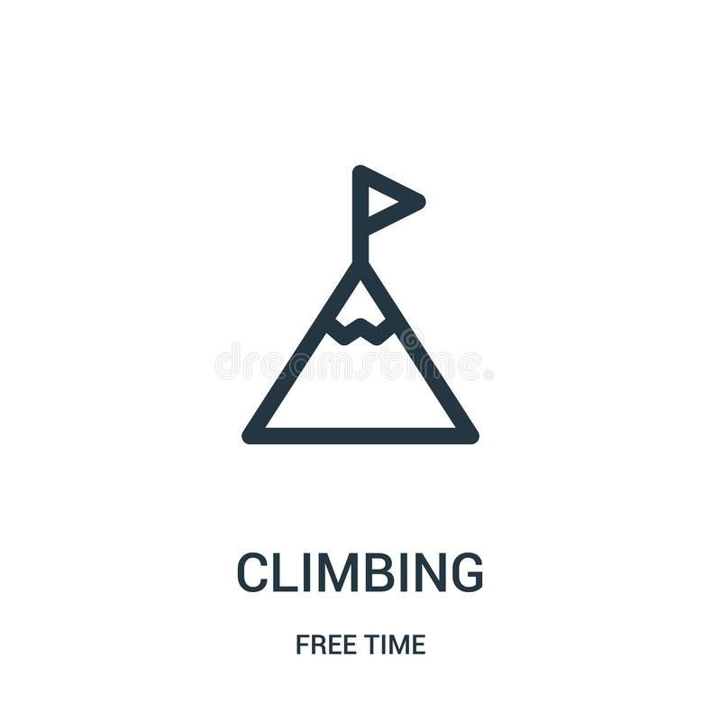 climbing icon vector from free time collection. Thin line climbing outline icon vector illustration. Linear symbol for use on web vector illustration